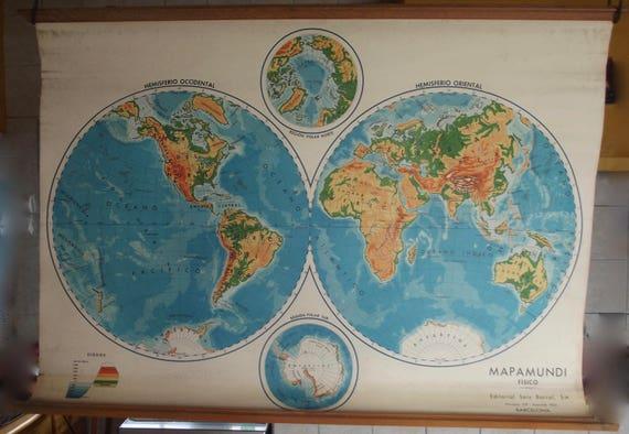 1968 rare mapamundi fisico barcelona spain eastern western like this item gumiabroncs Choice Image