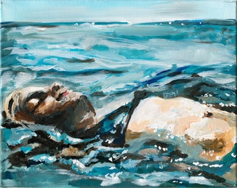 Floating. Ocean Art Print, Beach Home Decor, Seaside Art, Figure painting, 11 x 14