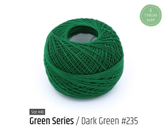 Cotton Thread Size #40 - Dark Green #235 - Green Series - VENUS Crochet Thread - 100% Mercerized Cotton Thread