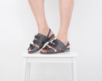 Women's sandals flat strappy slingbacks gray leather peep toe handmade designers shoes ADIKILAV free shipping