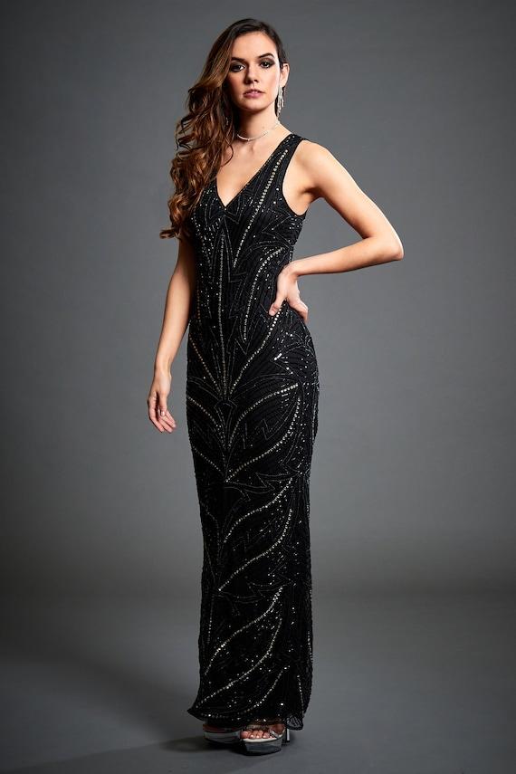 Black Sequin Maxi Flapper Art Deco Gown Us14 1920s Formal Us4 V
