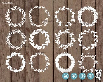 SVG Bundle!! 12 Blank Circle Monogram Wreath / Frames 2    svg / pdf Papercut Template   floral Paper Cut Out   Cricut, Cameo   Home Decor