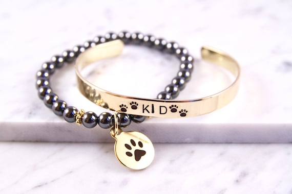 Personalized Pet Bracelet | Dog Name Jewelry | Pet Loss Bracelet | Paw Print Bracelet | Dog Loss Gift Idea | Pet Sympathy | Pet Remembrance