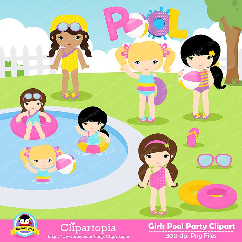 GIRLS POOL PARTY Clipart Pool Party Swim Girls