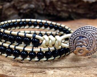 Double  leather wrap bracelet