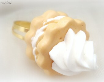 Miniature food whipped cream cookie ring, kawaii dessert jewelry, teen girl accessory