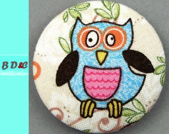 -Stylized OWL - diameter 40 mm fabric covered button - 4