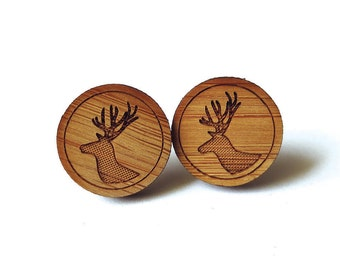 Deer Stag Earrings. Deer Earrings. Wood Earrings. Stud Earrings. Laser Cut Earrings. Bamboo Earrings. Gifts For Her. Gift For Women. For mom