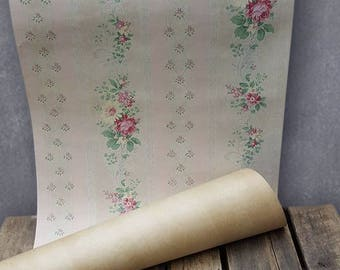 1920s Pink Floral Chintz Wallpaper By The Yard, Pale Pink And Yellow Roses
