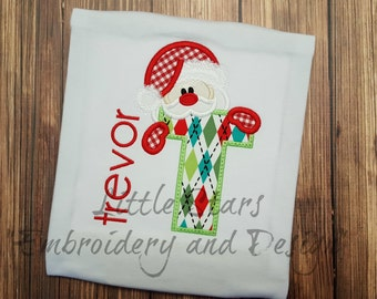 Peeking Santa Alphabet - You Choose Letter - Embroidered and Personalized Shirt - Colored shirts are Extra -