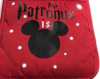 My Patronus is Mickey Pot Holder, Customized Pot Holder, Vinyl Oven Mitt, Harry Potter Oven Mitt