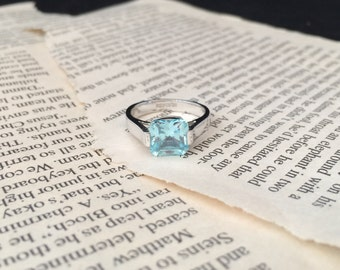 Sterling Silver and Aquamarine colored stone ring