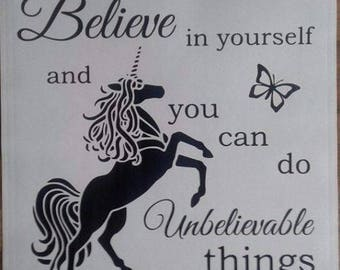 Believe in Yourself Unicorn Vinyl Decal Sticker Box Frame IKEA RIBBA