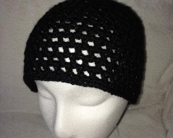 Crochet mesh hat, crochet mesh beanie, crochet net hat, crochet net beanie, sparkly black, metallic black