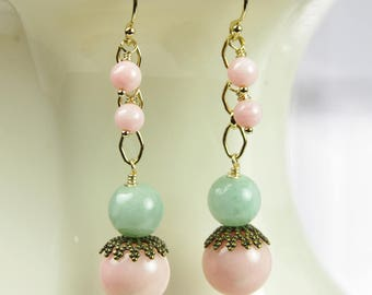 Pink Coral Green Jade Earrings Pale Gemstone 14kt Gold Filled Beaded Dangle Brass Traditional Contemporary 35th Wedding Anniversary Jewelry