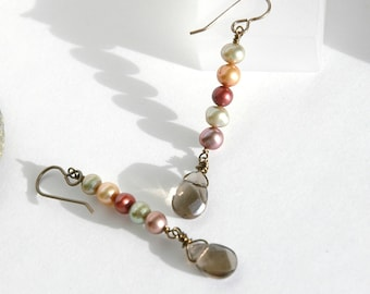 Pearl Earrings, Smoky quartz, Dangle Earrings, Gift for her, Multi color, Brass, Semiprecious, Jewelry