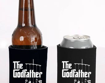 godfather can or bottle cooler   |   double-sided logo   |   godfather gift for baptism