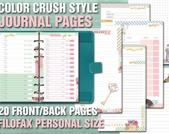 Color crush style printable planner pages filofax personal size passwords notes dotted pages journal wishlist kikki k webster's pages