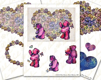 Valentine's Day Greeting Card - Digital Collage Sheet - Instant Download - Printable - Great for Crafting - Hearts, Teddy Bears, Flowers
