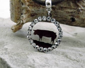 Stock Show Pig Necklace, Pig Jewelry, 4-H Stock Show Pig, FFA Show Pig, Livestock Pig Jewelry, Pig Mom Necklace, Stockshow Necklace