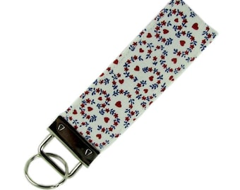 Personalized Key Chain / Key Fob Dainty Hearts and Flowers Calico With Optional Initials