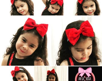 Custom red velvet bow headband