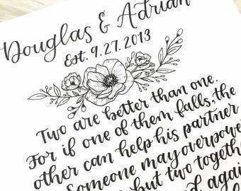 Modern Calligraphy Wedding Print / Marriage Scripture / Ecclesiastes