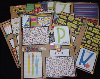 School Boy or Girl 14~12x12 Premade Scrapbook Layouts Pre-K~12th grade journal cards