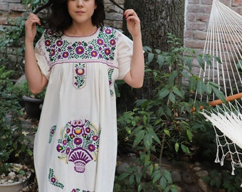 Cotton Muslin and multi colored embroidery Puebla Dress