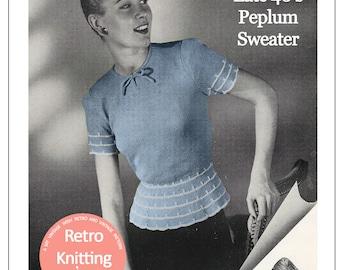 1940s Peplum Sweater Vintage Knitting Pattern - PDF Knitting Pattern - PDF Instant Download