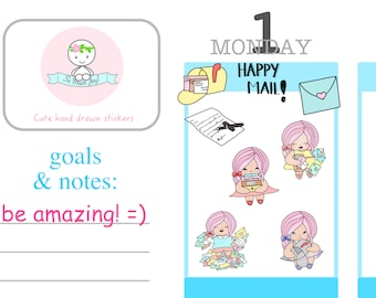 CCG002 - Cotton Candy Girls - Happy Mail Happy Girl Collection//Sticker Sheet//Planner Stickers