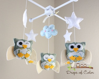 "Baby Crib Mobile - Baby Mobile - Owl Mobile ""Five little owls in the night"" (You can pick your colors) Nursery Baby - Neutral Nursery"