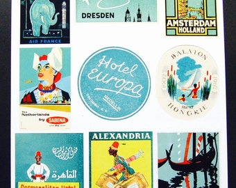 Vintage Luggage Label Images Paper, on Card Stock 8.5 X 11 Sheet A-3. NOT Digital