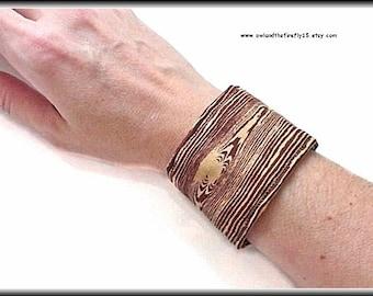 Faux Bois Wood Fabric Cuff Bracelet