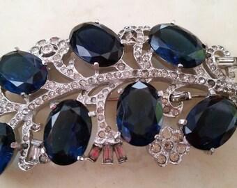 SALE Vintage Mazer Silver Tone Metal Brooch Pin Blue and Clear Rhinestones 1950s Rockabilly Viva Las Vegas VLV