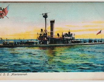 Linen Postcard, U.S.S. Miantonomah Battleship, Military Ship, ca 1909