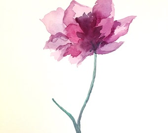 """Original art, watercolor, painting, floral painting, """"Fuchsia Flower"""""""