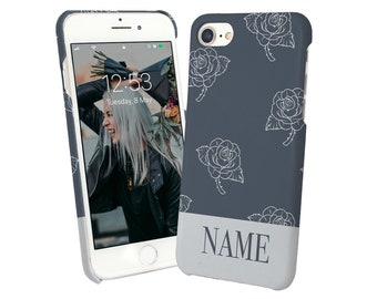 Custom Made Protective And Stylish iPhone 6 7 8 X Plus Case Cover For Her Personalized Name Text Initials Hand Painted Rose-Rstyle4