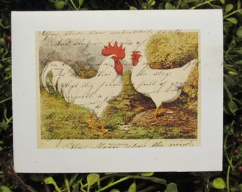 Primitive Chickens Thank You Card - FREE SHIPPING