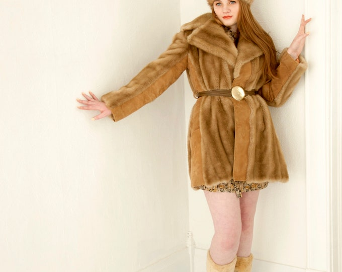 Vintage Lilli Ann faux fur coat, genuine suede, leather jacket, brass tan brown boho retro 1960s 1970s, London Leathers M