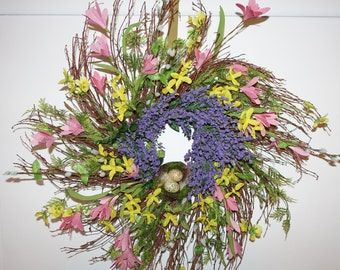 Spring Front Door Wreath, Woodland Wreath,