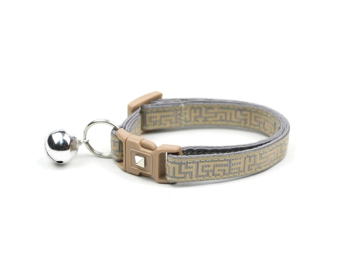 Labyrinth Cat Collar - Mazes on Grey - Small Cat / Kitten Size or Large Size