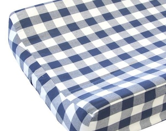 Brett's Gingham Changing Pad Cover | Navy and White