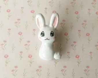 White Bunny Clay Pin