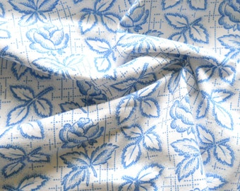 vintage french fabric patchwork fabric quilting fabric antique fabric blue flowers blue floral fabric  182