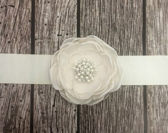 Ivory wedding sash, floral wedding sash, all white sash, wedding belt, simple wedding sash, white sash
