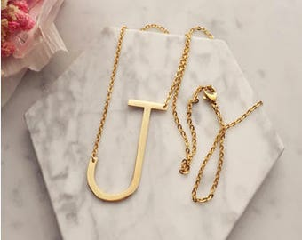 Big Large Initial Necklace, Sideways Alphabet Necklace, Letter Necklace, Bridesmaids gift, Christmas Gift, Personalized Gift