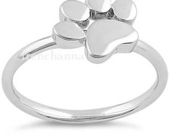 Sterling dog paw print Ring unique paw print Sterling Silver Ring