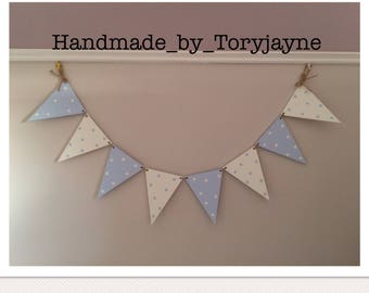 Wooden Bunting For Babys Nursery - Blue Baby Boy