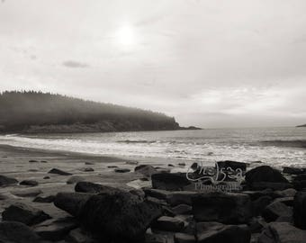 Rocky Beach - Black and white Photograph, landscape Wall Art